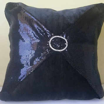 Shiny Black Baby Sequins and Black Chenille Luxury Pillow Cover