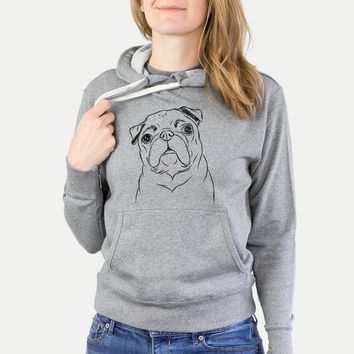 Darling Chloe the Pug - Grey French Terry Hooded Sweatshirt