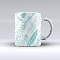 The Teal Feather Pattern ink-Fuzed Ceramic Coffee Mug