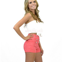 Sails Away High Waist Coral Lace Button Sailor Shorts