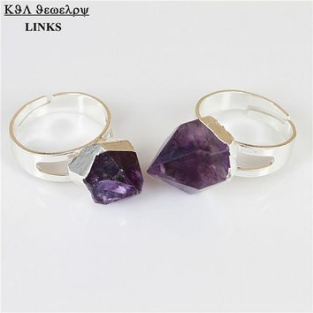 Natural Crystal Purple Quartz Stone Ring,Crystal Piont Druzy Stone Ring,Silver Plated  Gem Ring