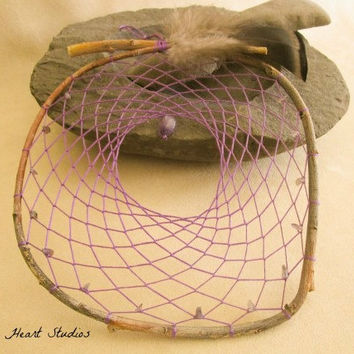Dream Catcher - amethyst stone - purple dusk - large - 8 inch - native American style