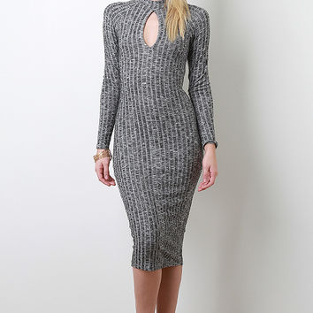 Marled Ribbed Knit Dress