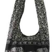 Black Hippie Hobo Boho Vintage Elephant Sling Cotton Yam Buddha Crossbody Shoulder Messenger Bag Purse Tote EA12