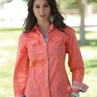 Cruel® Ladies' Coral Solid Western Shirt