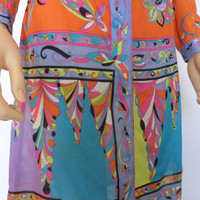 Vintage 1960's EMILIO PUCCI PsYcHeDeLiC oP aRt OpTiC Fish Flower Dress Collectible Designer Couture S M