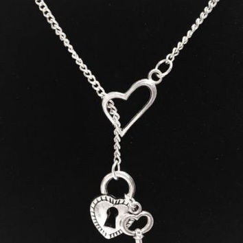 Heart Lock And Key To My Heart Love Police Wife Valentine Lariat Style Necklace