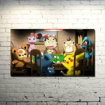 Xy Anime Game Art Silk Fabric Poster Canvas Print 13x24 32x57 Inches Pocket Monster Pikachu Picture For Home Decor 071Kawaii Pokemon go  AT_89_9