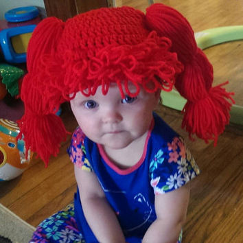 Crochet Yarn Hair Baby Wig, Beanie Hat, Doll Lookalike, Funny Toddler Hat, Baby Gag Gift, photo prop, costume prop, Fake Pigtails, Ginger