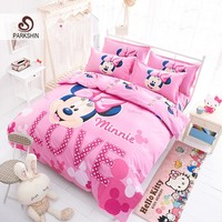 ParkShin Mickey Mouse Bedding Set Cartoon Kids Favorite Home Textiles Love Mickey Bed Linen Twin Queen Size Bedclothes 3pcs/4pcs