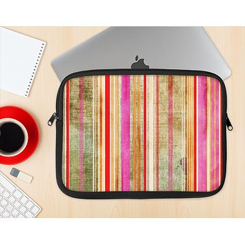 The Smudged Pink Painted Stripes Pattern Ink-Fuzed NeoPrene MacBook Laptop Sleeve