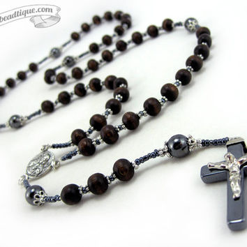 Wood Rosary, Mens Rosary necklace, boys rosary, wooden rosaries, confirmation rosary, catholic rosaries, rosaries for men, communion rosary