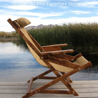 Gold Telluride Prospector Handcrafted Wood Chair Reclining Outdoor All Weather Camping Folding Sling Deck Beach Yard Patio
