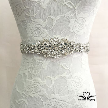 New Arrival Handmade crystal rhinestone Beaded embellishment waist belt Wedding Bridal Sash women costume Belt XW51