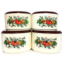 Spice of Life Plastic Canister Set Mushrooms Vegetables Sterilite Vintage Kitchen Containers