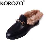 2017 Princetown Slippers Women Chain Rabbit Fur Slides Feather Fur Slippers Heels Designer Furry Flats Slipony Sandals Shoes