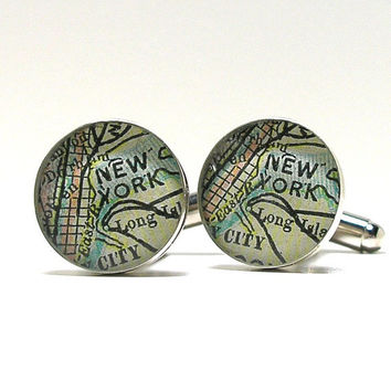 NYC Antique Map Cufflinks 1899