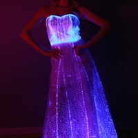 Fiber Optic Gown Dress: Color changing lights with remote for Wedding, Prom, evening wear, Festival, Rave