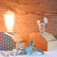 Set of two  wood lamps with ombre polka dots, made out of reclaimed firewood, can be used as matching bedside lamps or as table lamps