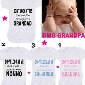 Nutty Grandpa or Call Nanny crazy one or Smelly grandad  1 x bodysuit or 1 x T-shirt or 2 x white bibs or DESIGN YOUR OWN