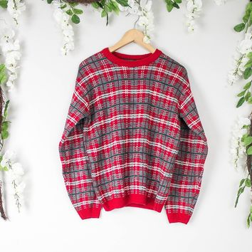 Vintage Red Plaid Sweater
