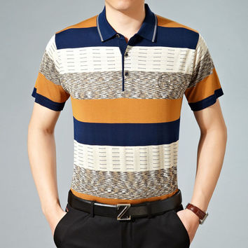 Stylish Stripes Knit Luxury Men Short Sleeve T-shirts [6544156803]