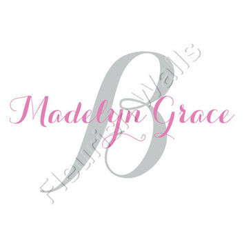 Baby Girl Wall Decal Monogram Personalized With Script Initial And Name For Girls Or Boys Nursery Room Vinyl Wall Art 22H x 36W CN022