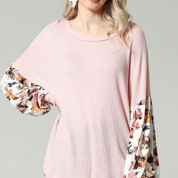 EMMA Floral Puff Sleeve Top in Pink