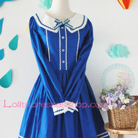 Blue Cotton Navy Collar Long Sleeves Bow Sailor Lolita Dress