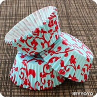 50 Teal and Red Scroll Cupcake Liners by HeyYoYo on Etsy