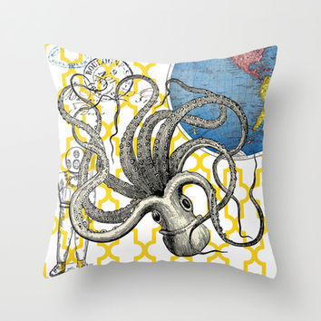 Giant Squid / Nautical Decor  Throw Pillow by Cabinet Of Pretty Things
