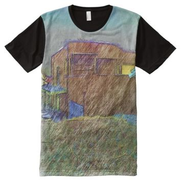 Brown House drawing All-Over-Print Shirt
