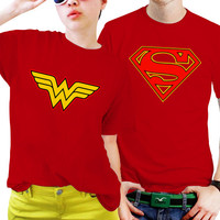 NSC-Superman and Wonder Women Logo Couples Matching Shirts, Couples T Shirts, Funny Couple Shirts