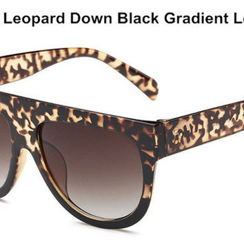 Women's Brown Leopard Oversize Sunglasses with Animal Print Frame