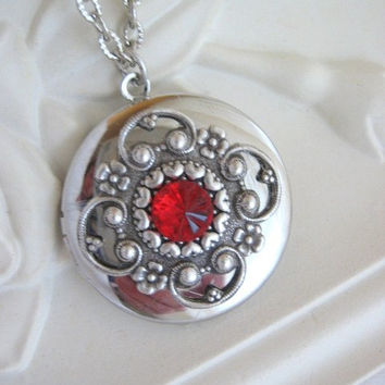 Heart, Locket, Filigree Locket, Silver Heart Locket, Tiny Hearts,Valentines Day Gifts,Heart Jewelry,Antique Locket,Red Crystal Heart,Lockets