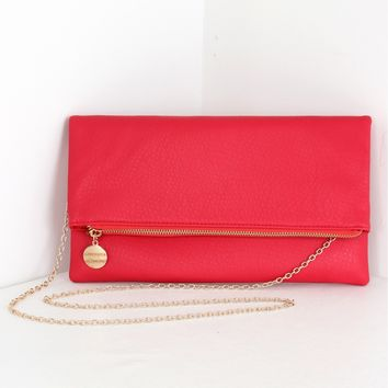 Leather Foldover Clutch Red