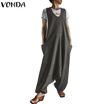 f968a958ee VONDA Rompers Womens Jumpsuit 2018 Autumn Harem Pants Casual Loo