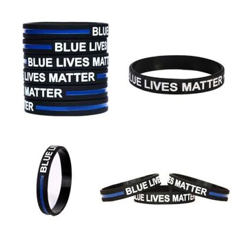 3 Pack Blue Lives Matter Thin Silicon Wristband Bracelet Police Lives Matter (Free Shipping)