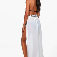 Lexi Bride Embroidered Beach Sarong | Boohoo