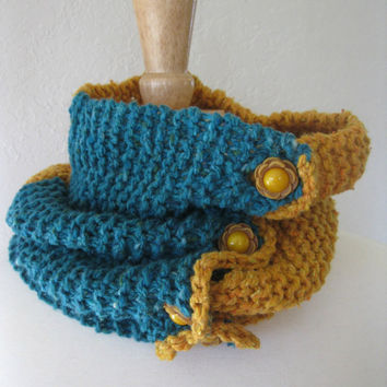 Handknit Cowl  Chunky Knit Neck Scarf in Yellow by SewEcological