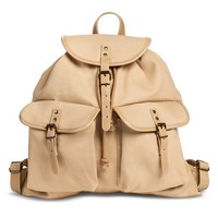 Women's Drawstring Canvas Backpack Handbag - Tan