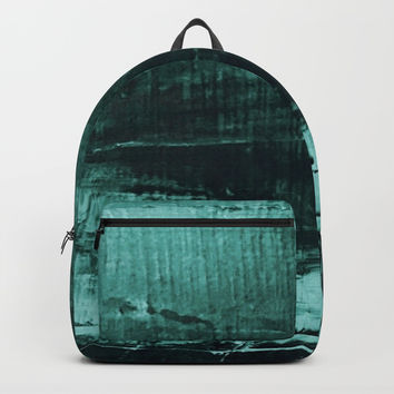 Dark Green Texture Abstract Modern #Art #HomeDecor Backpacks by Sheila Wenzel