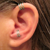 "2 Cuffs No Piercing 1 Helix Cuff Ear Cuff ""Triple Loops""  & 1 Anti Tragus Cuff ""Simple Loops"" Cartilage"