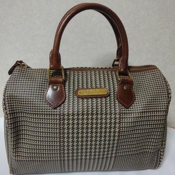 Vintage Ralph Lauren brown and grey wool like check pattern purse with brown leather h