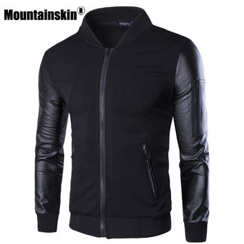 Trendy Mountainskin Bomber Jacket Men's Coats Patchwork Leather Men Outerwear Autumn Slim Fit 2018 Brand Male Motorcycle Jackets SA003 AT_94_13