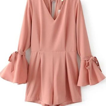Casual V-Neck Plain Bell Tie Sleeve Romper