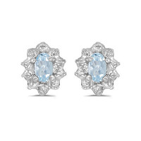 14K White Gold Oval Aquamarine and Diamond Earrings (1/2ct TGW)