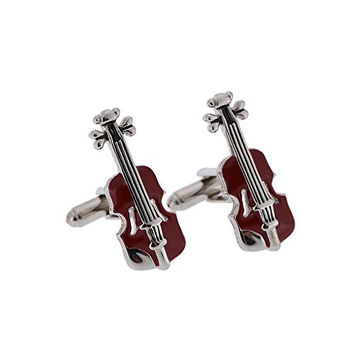 18K Gold Plated Brass Guitar Musical Instrument Cufflinks Men's French Shirt for Party Wedding Meeting with Gift Box