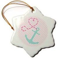 Cute Anchor and Heart Rope - Pink and Aqua Ornament Janna Salak Designs Nautical