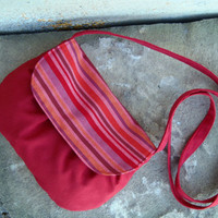 Brick red clutch in repurposed upholstery fabric and striped fabric. Ecofriendly Josy clutch. Burgundy crossover small bag